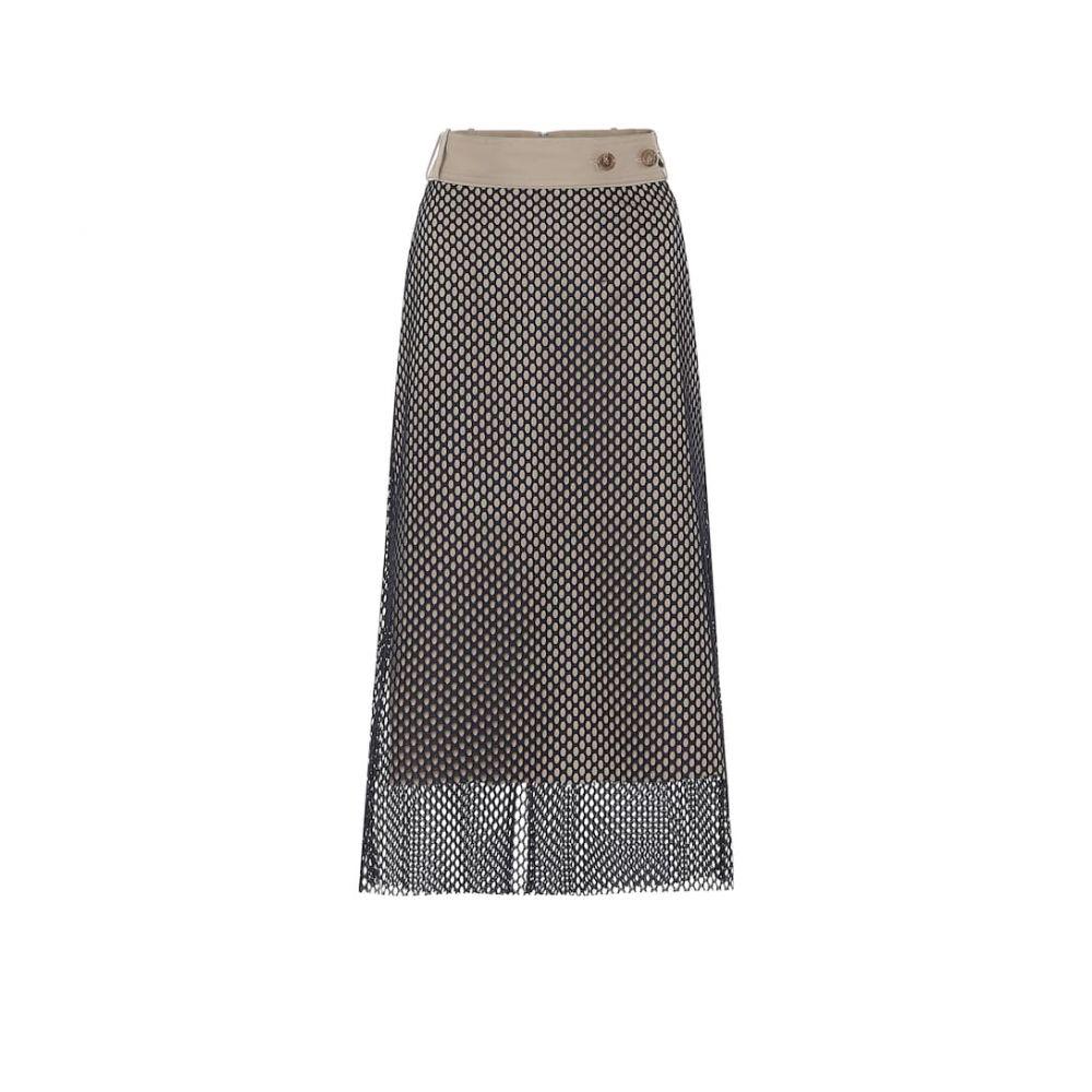 ロック Rokh レディース ひざ丈スカート スカート【High-rise mesh and cotton midi skirt】Burlywood