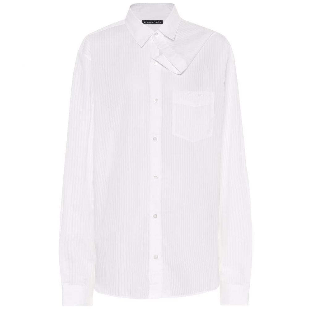 ワイプロジェクト Y/PROJECT レディース ブラウス・シャツ トップス【Asymmetric cotton shirt】White