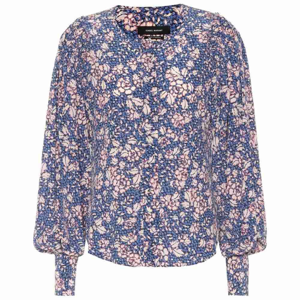 イザベル マラン Isabel Marant レディース ブラウス・シャツ トップス【Berny printed silk-blend blouse】Blue