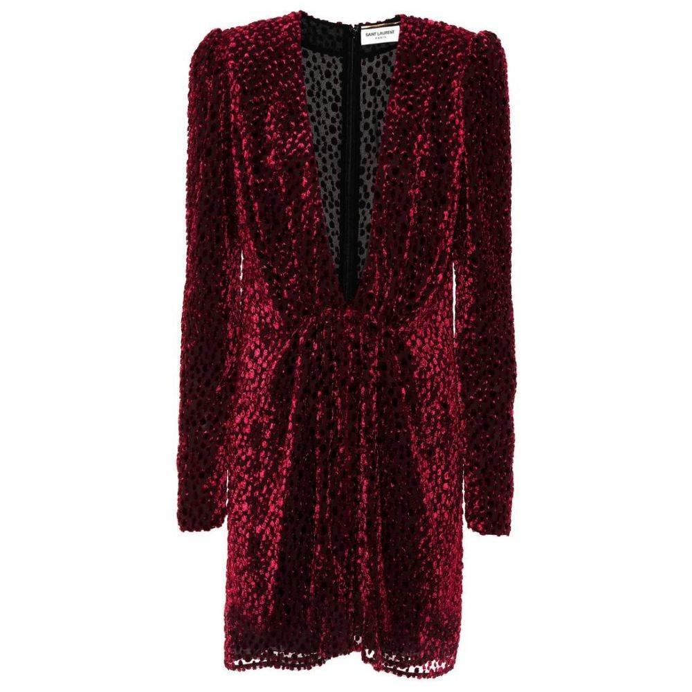イヴ サンローラン Saint Laurent レディース ワンピース ワンピース・ドレス【Flocked velvet silk-blend dress】Bordeaux