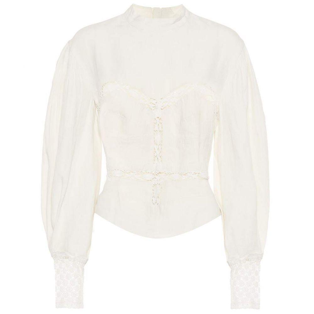 イザベル マラン Isabel Marant レディース ブラウス・シャツ トップス【Lyneth lace-trimmed cotton blouse】white