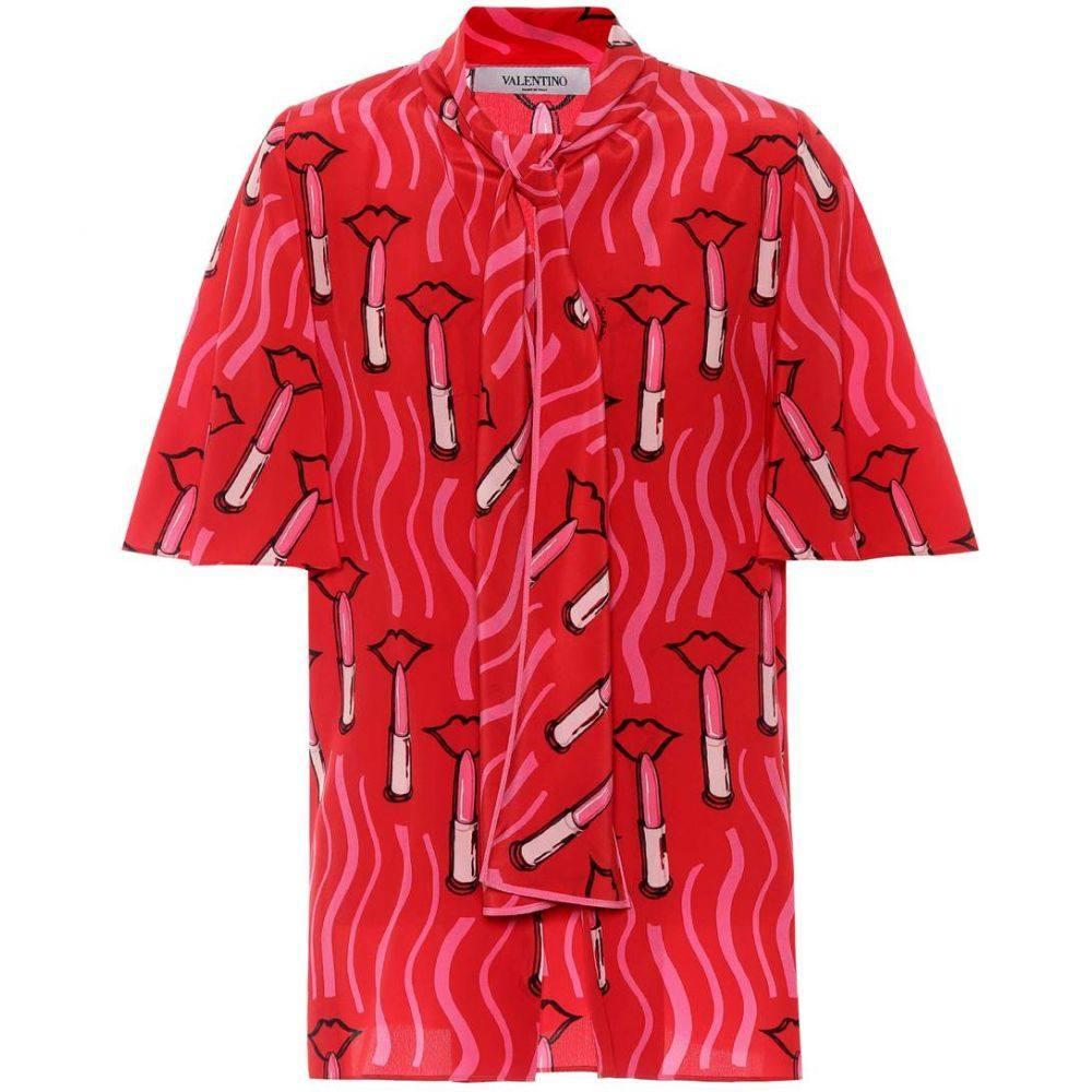 ヴァレンティノ Valentino レディース トップス 【Printed silk top】Rosso