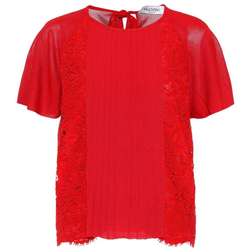 ヴァレンティノ Valentino レディース トップス 【Lace-panelled top】Red