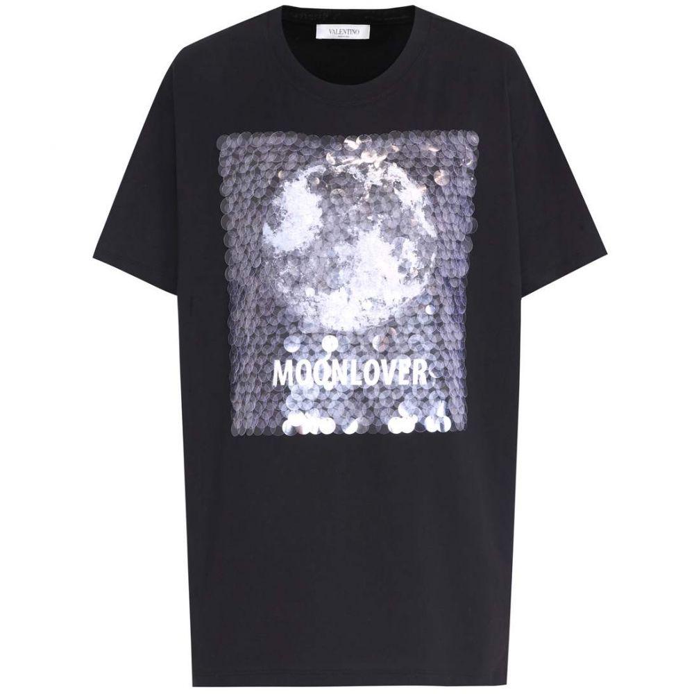 ヴァレンティノ Valentino レディース Tシャツ トップス【Sequin-embellished cotton T-shirt】Nero