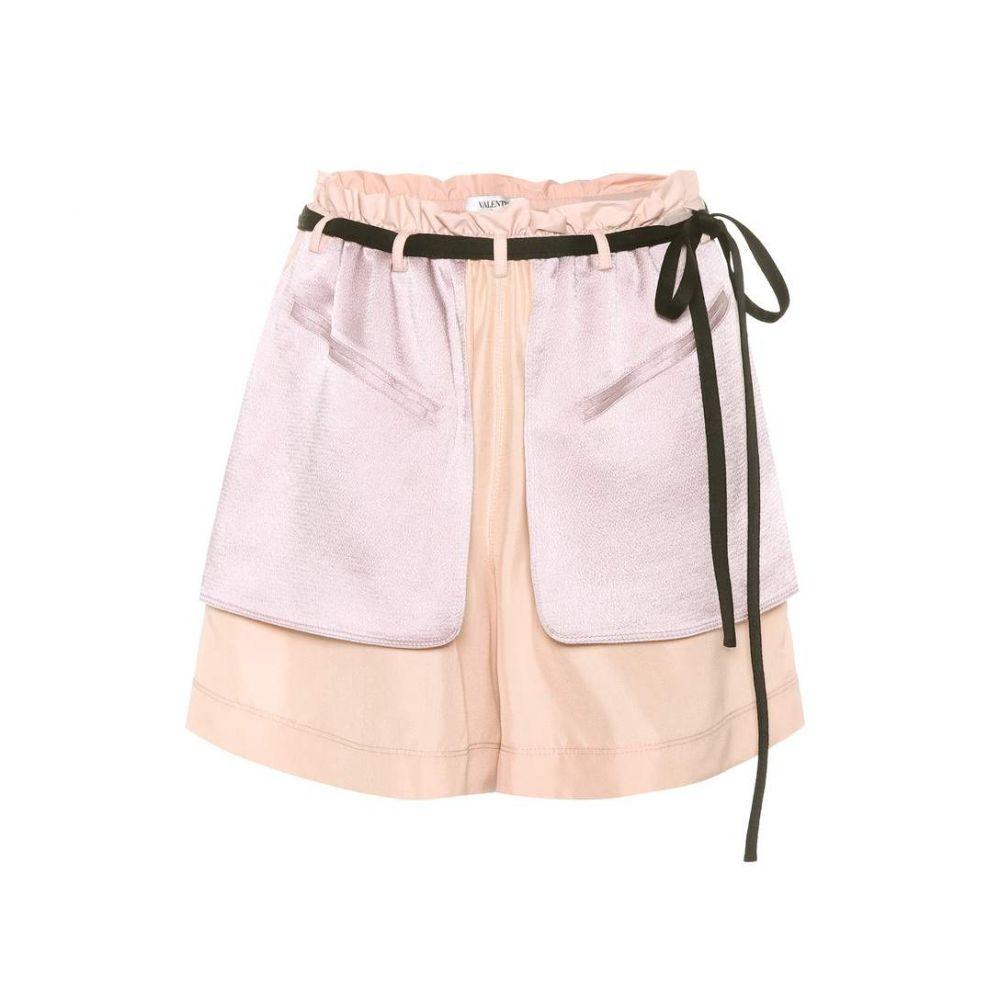 ヴァレンティノ Valentino レディース ショートパンツ ボトムス・パンツ【Crepe and satin shorts】Poudre