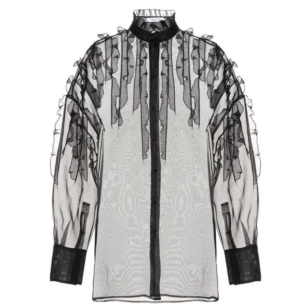 ヴァレンティノ Valentino レディース ブラウス・シャツ トップス【Sheer silk blouse】Nero