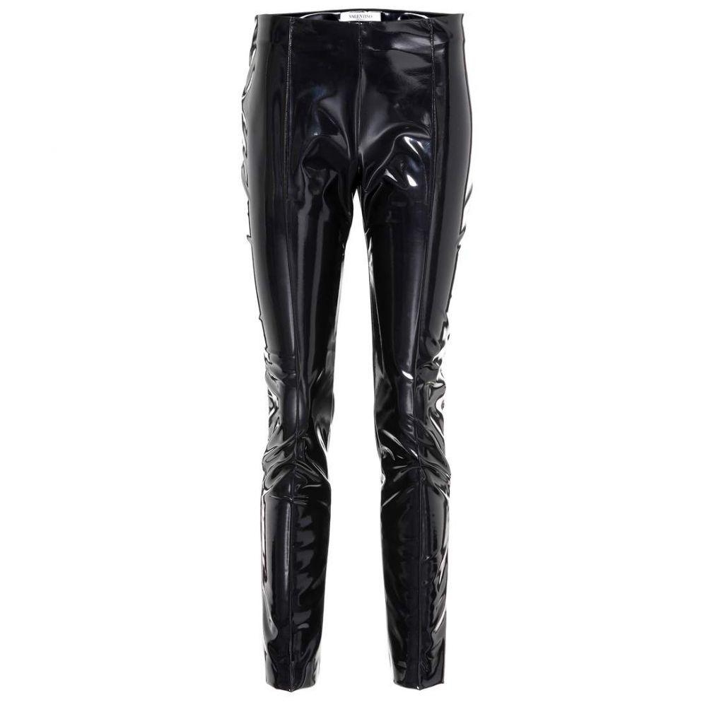 ヴァレンティノ Valentino レディース スキニー・スリム ボトムス・パンツ【Vinyl slim-fit pants】Black