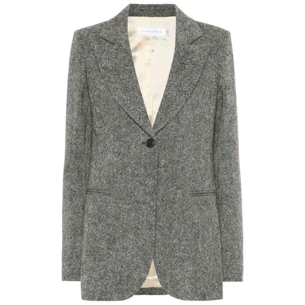 ヴィクトリア ベッカム Victoria Beckham レディース スーツ・ジャケット アウター【Donegal tweed blazer】Black-Beige