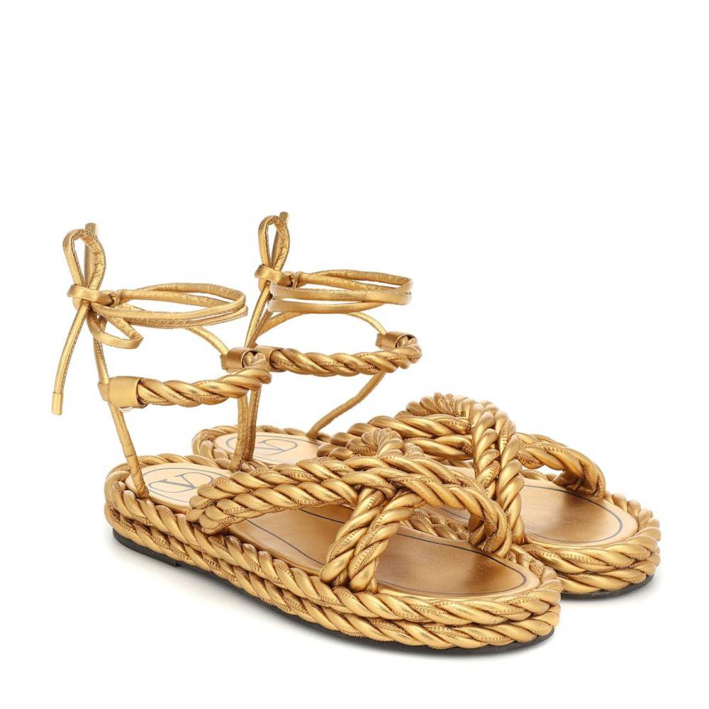 ヴァレンティノ Valentino レディース サンダル・ミュール シューズ・靴【Garavani The Rope leather sandals】Deep Gold