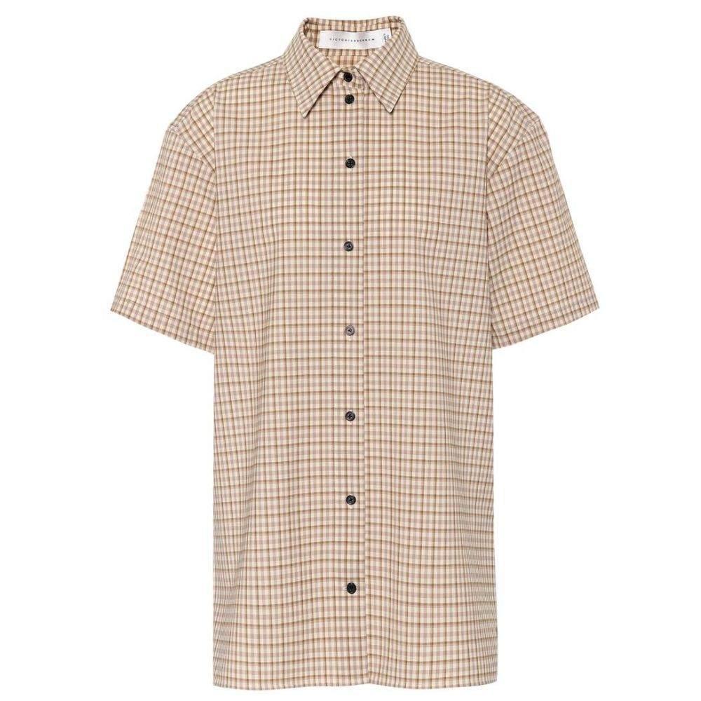 ヴィクトリア ベッカム Victoria Beckham レディース ブラウス・シャツ トップス【Stretch wool shirt】Taupe-Off White