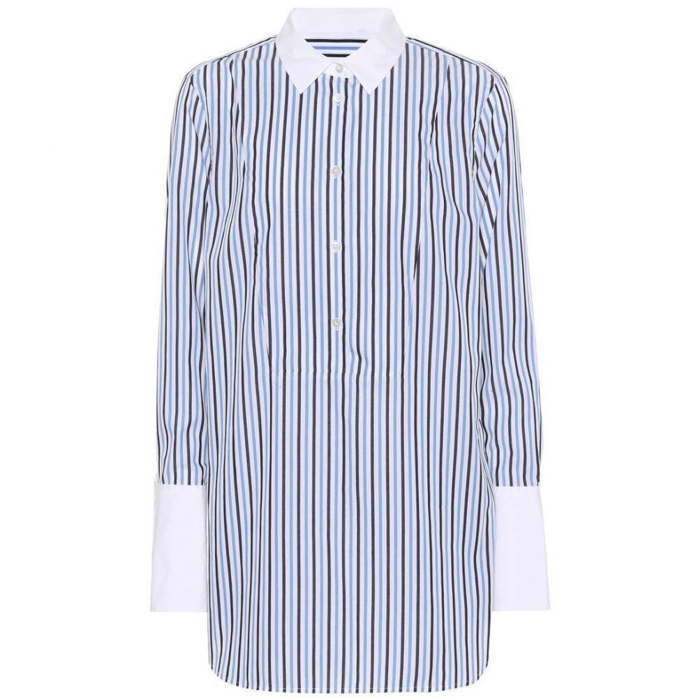 エキプモン Equipment レディース ブラウス・シャツ トップス【Striped cotton wide-cuff shirt】Bright White Stripe