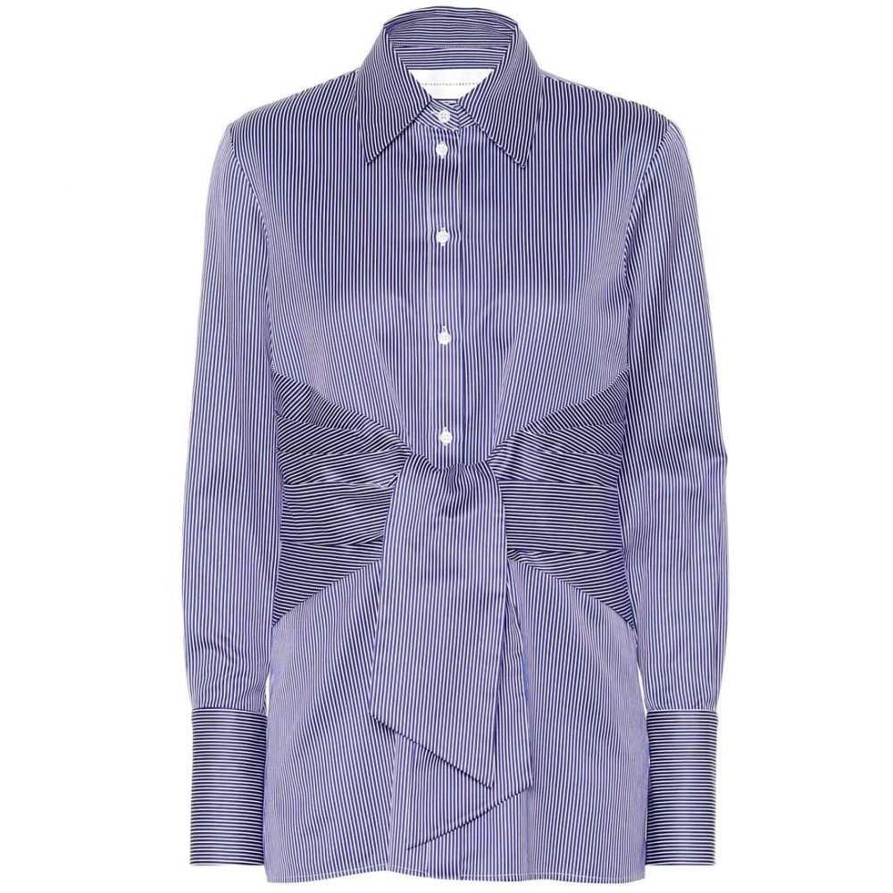 ヴィクトリア ベッカム Victoria Victoria Beckham レディース ブラウス・シャツ トップス【Striped cotton shirt】Midnight