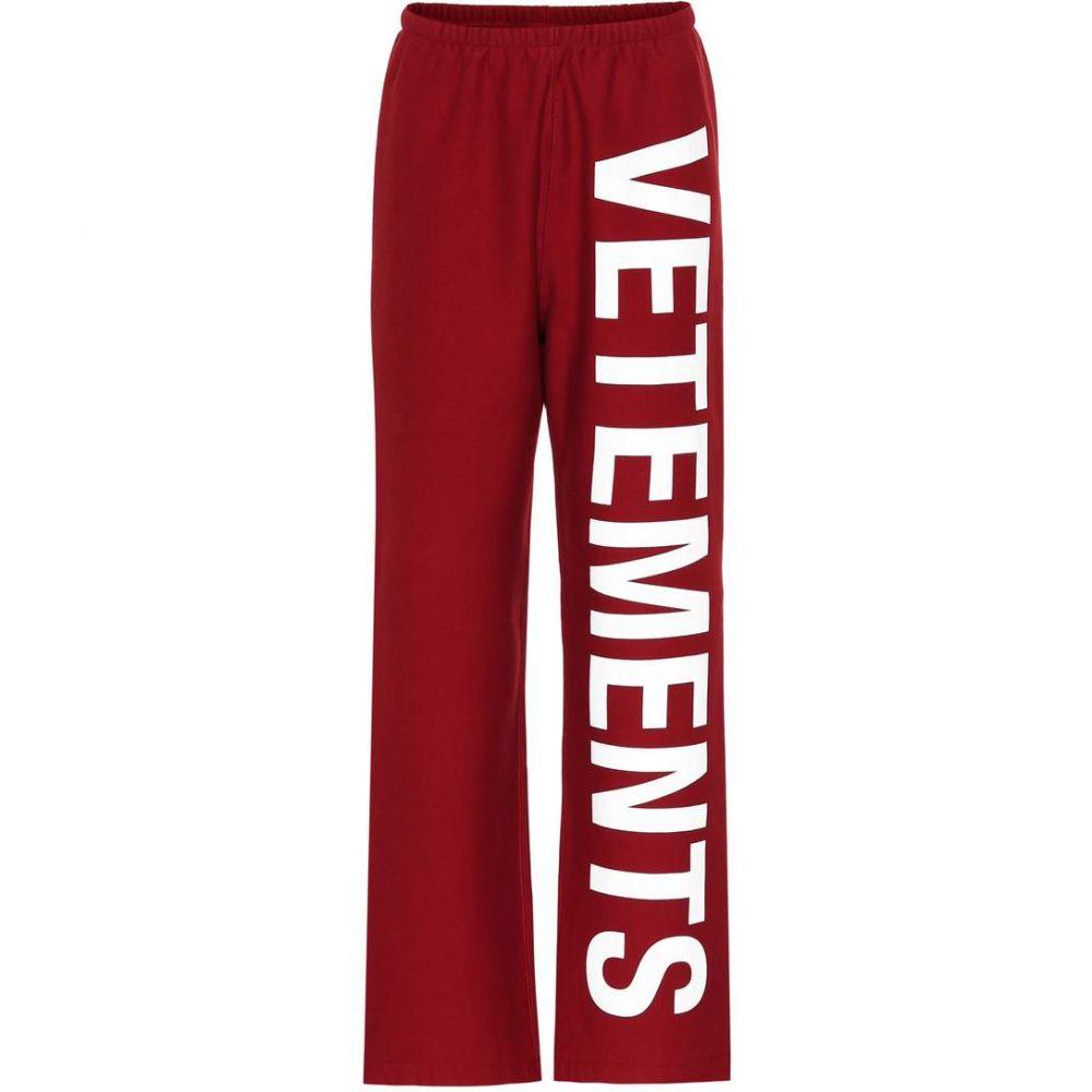 ヴェトモン Vetements レディース スウェット・ジャージ ボトムス・パンツ【Printed cotton-blend trackpants】red