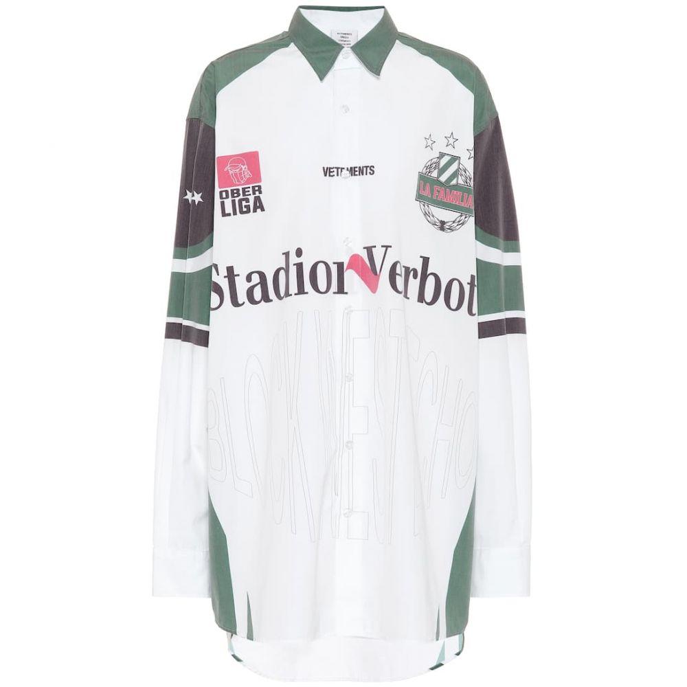 ヴェトモン Vetements レディース ブラウス・シャツ トップス【Printed cotton-blend shirt】white/green