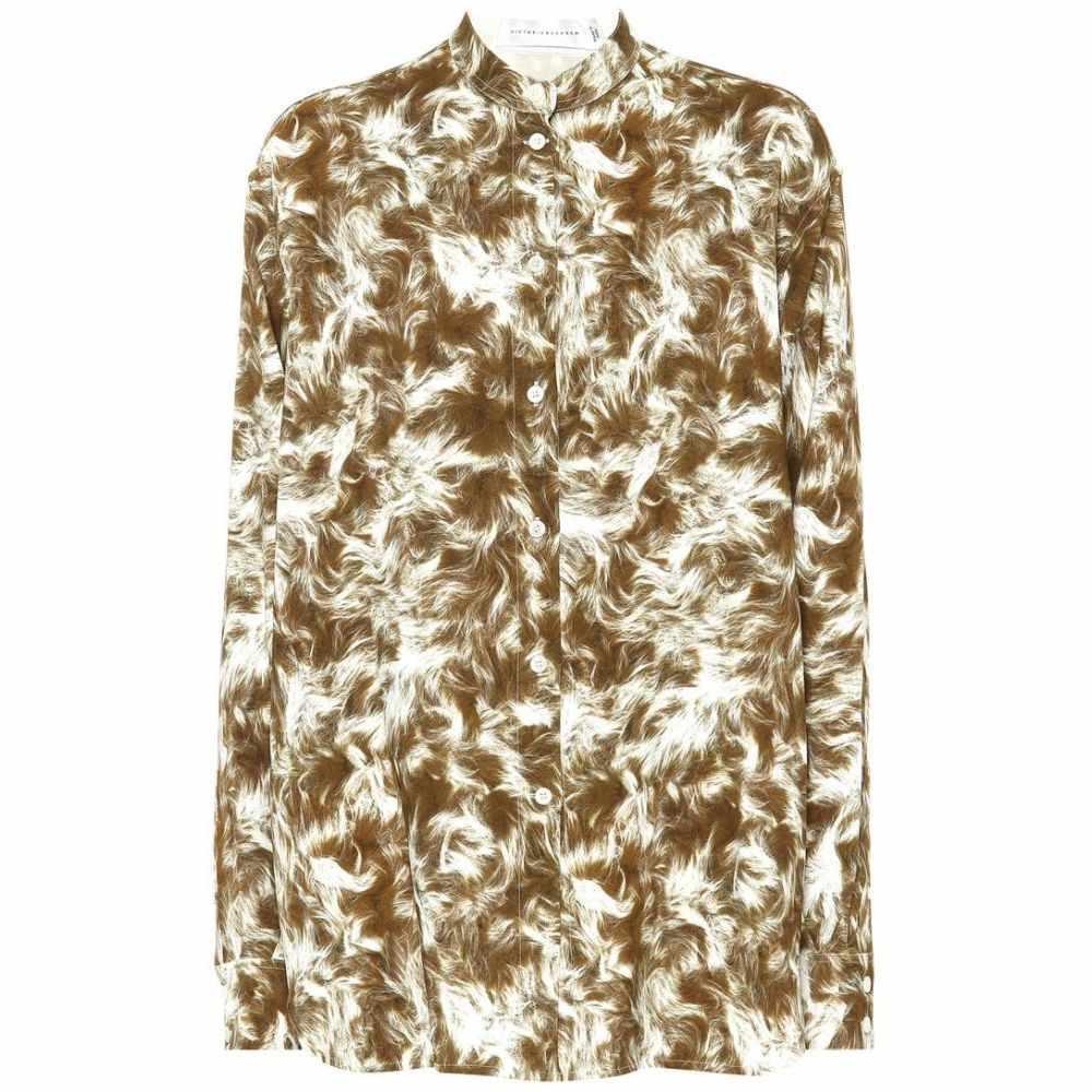 ヴィクトリア ベッカム Victoria Beckham レディース ブラウス・シャツ トップス【Printed jersey grandad shirt】sand white