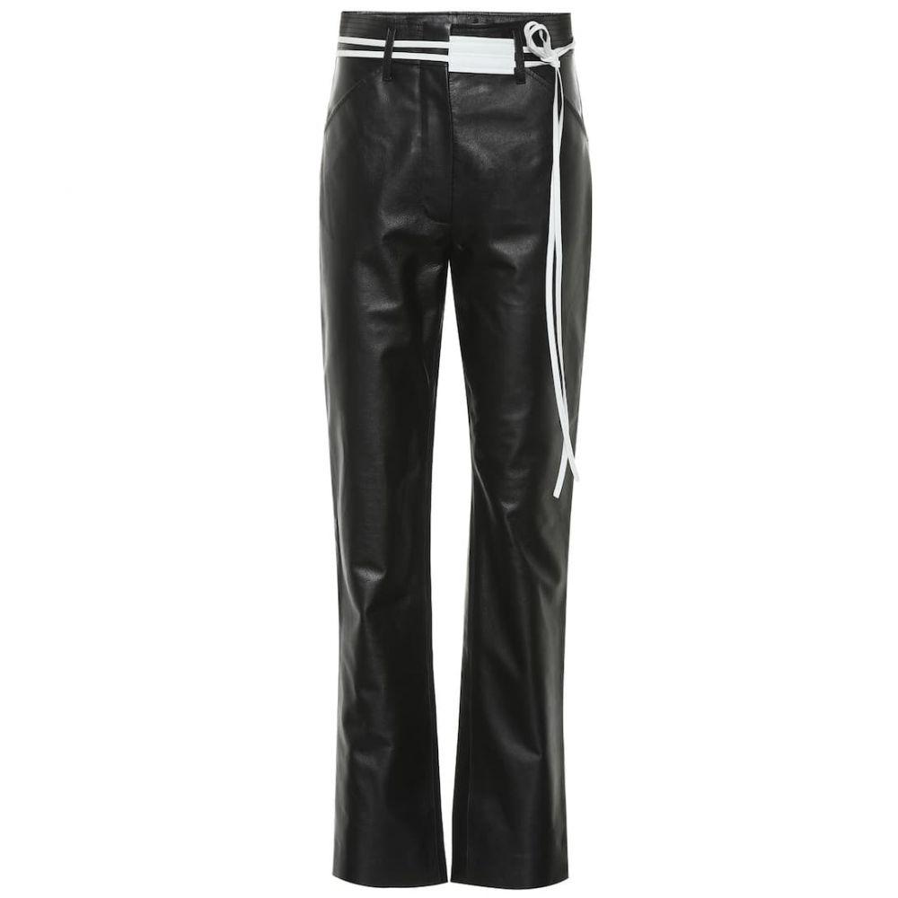ヴィクトリア ベッカム Victoria Beckham レディース ボトムス・パンツ レザーパンツ【High-rise straight leather pants】Black/White