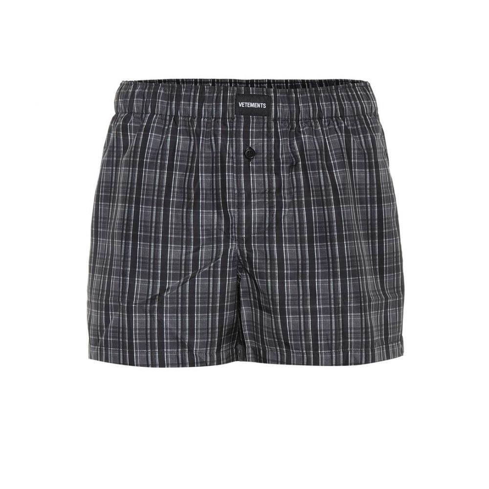 ヴェトモン Vetements レディース ショートパンツ ボトムス・パンツ【Logo-embroidered checked shorts】Grey Check