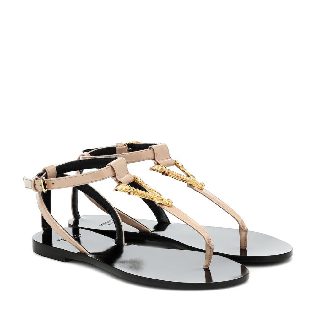 ヴェルサーチ Versace レディース サンダル・ミュール シューズ・靴【Virtus leather thong sandals】Nude Warm Gold