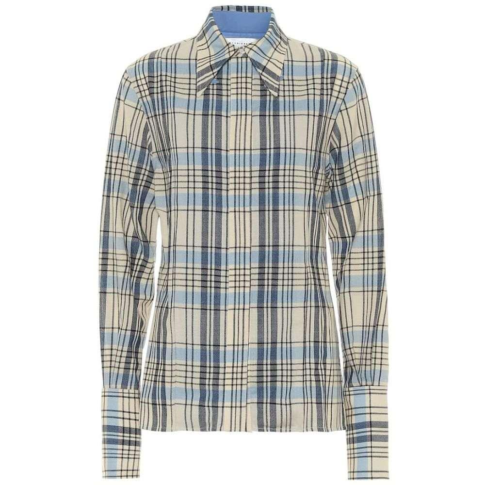ヴィクトリア ベッカム Victoria Beckham レディース ブラウス・シャツ トップス【Checked virgin wool shirt】Sky Blue/Yellow