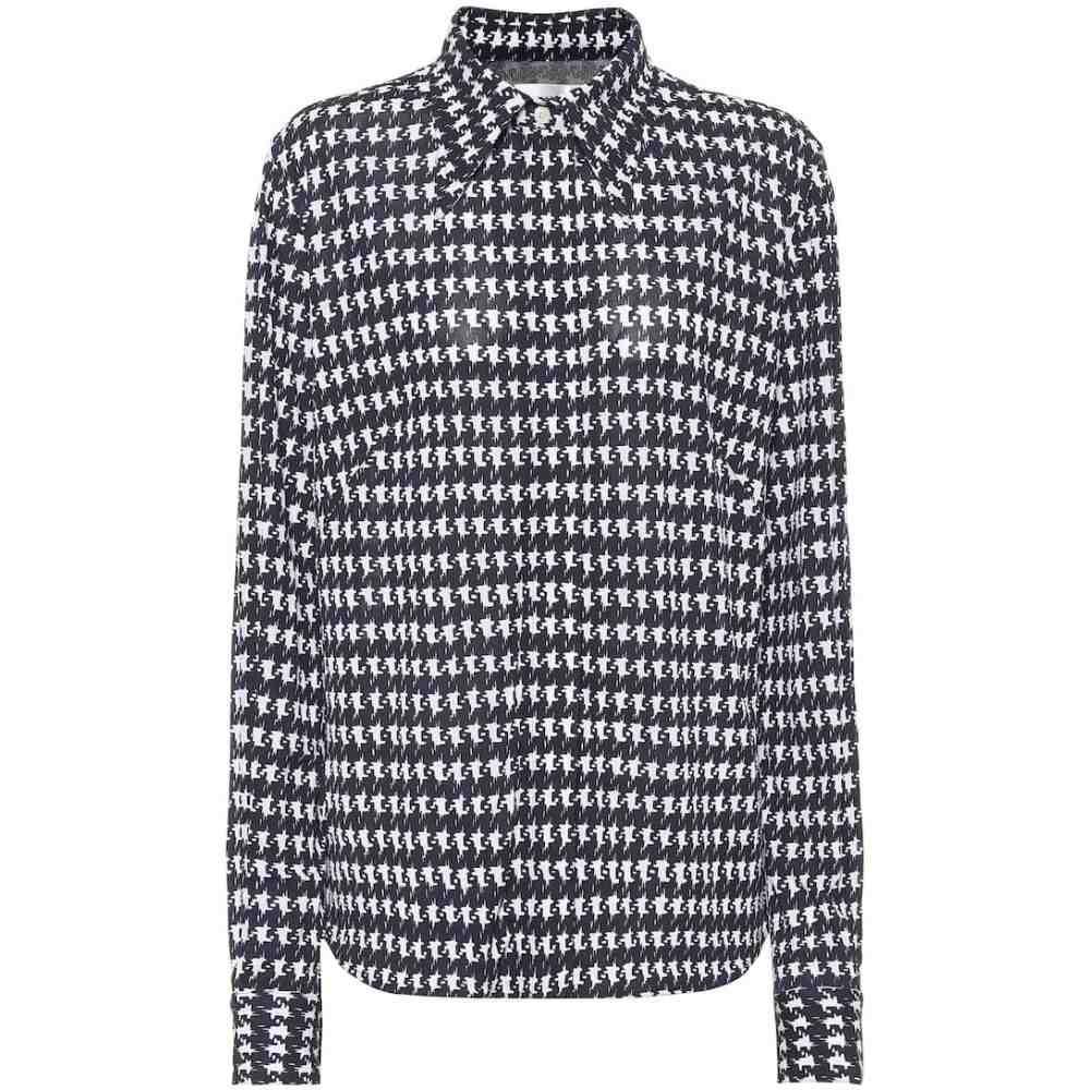 ヴィクトリア ベッカム Victoria Beckham レディース ブラウス・シャツ トップス【Houndstooth-print shirt】Navy/Off White