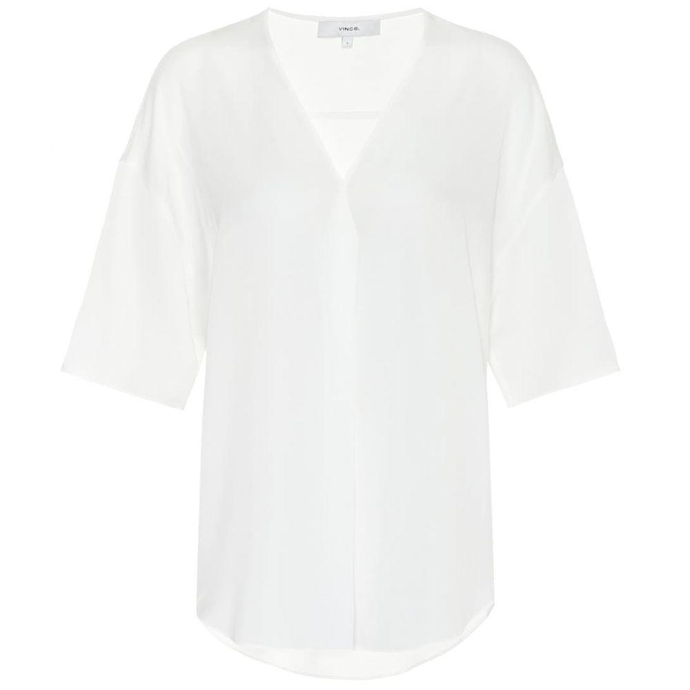 ヴィンス Vince レディース ブラウス・シャツ トップス【Stretch-silk blouse】Off White