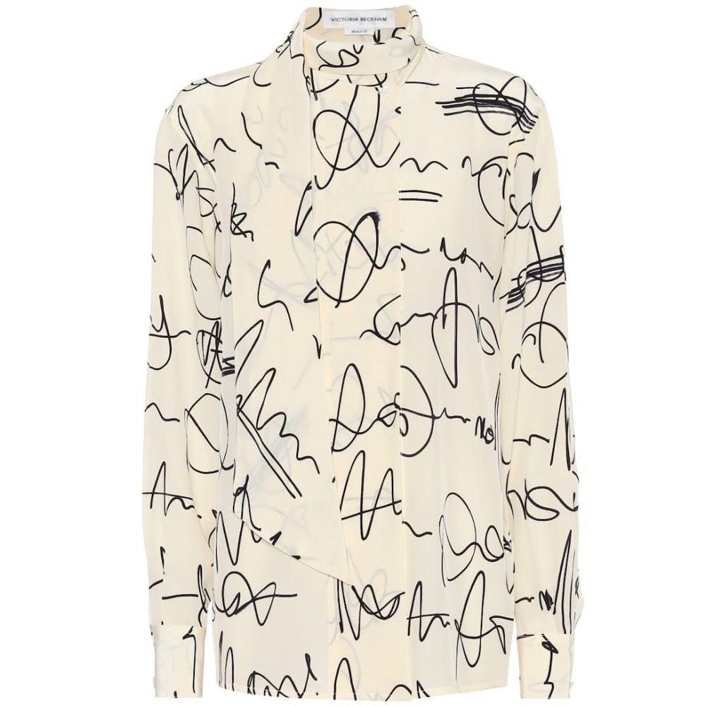 ヴィクトリア ベッカム Victoria Beckham レディース ブラウス・シャツ トップス【Printed silk crepe de chine blouse】Creamblack