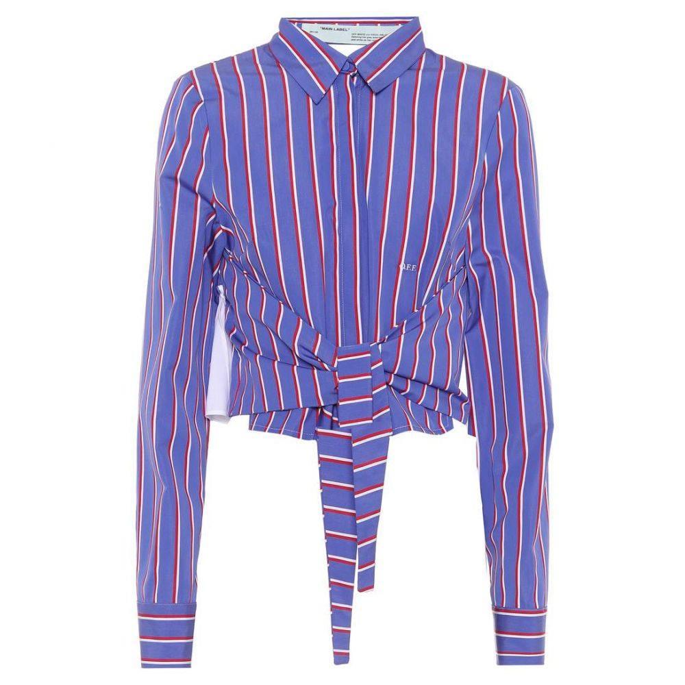 オフホワイト Off-White レディース ブラウス・シャツ トップス【Striped cotton shirt】White Purple