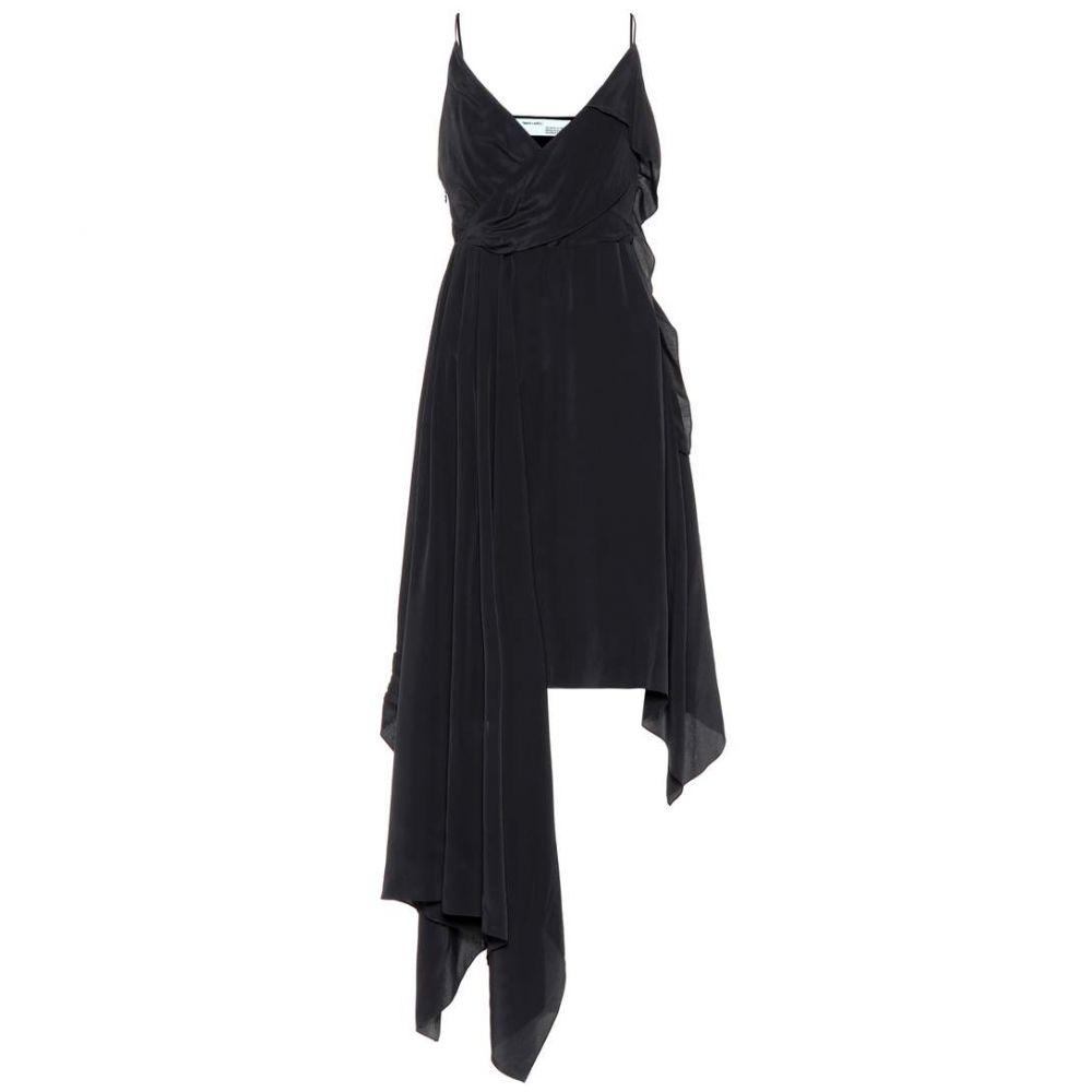 オフホワイト Off-White レディース ワンピース ワンピース・ドレス【Asymmetric silk-blend dress】Black White