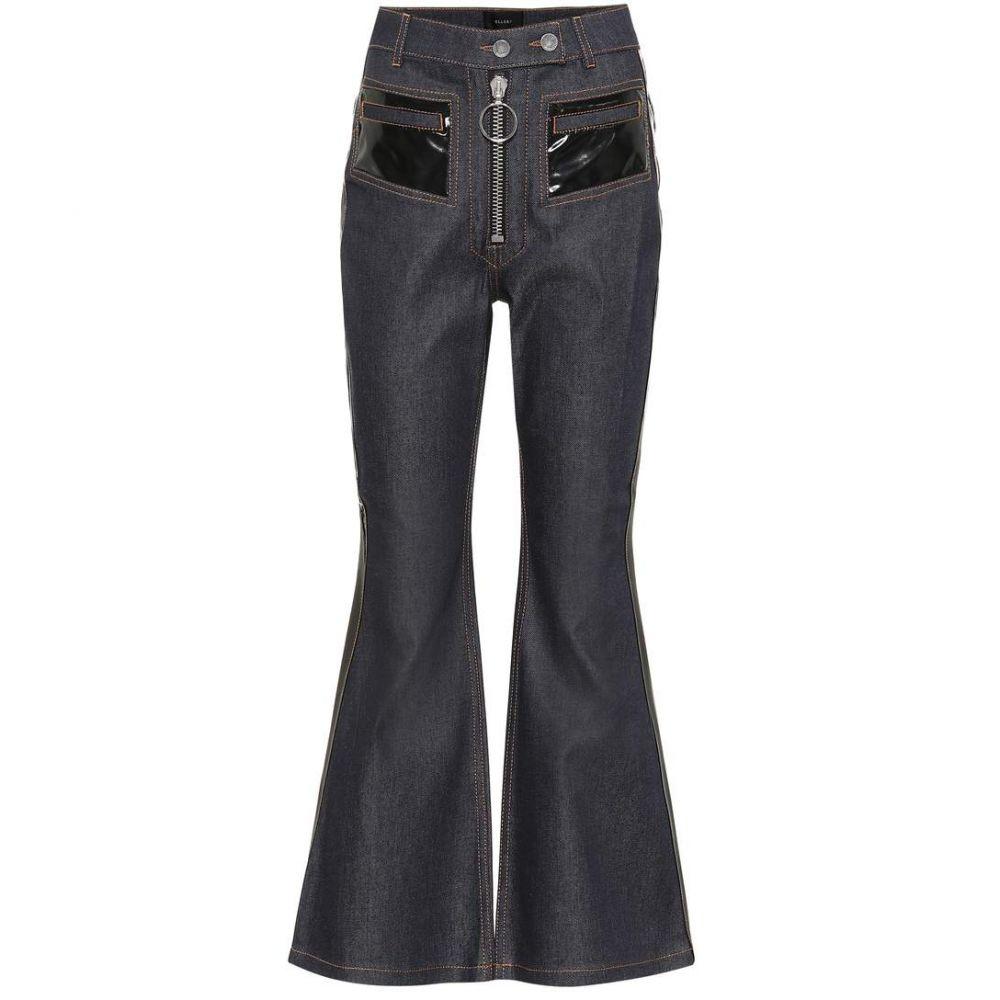 エラリー Ellery レディース ジーンズ・デニム ボトムス・パンツ【Vinyl-embellished flared jeans】Navy with Black