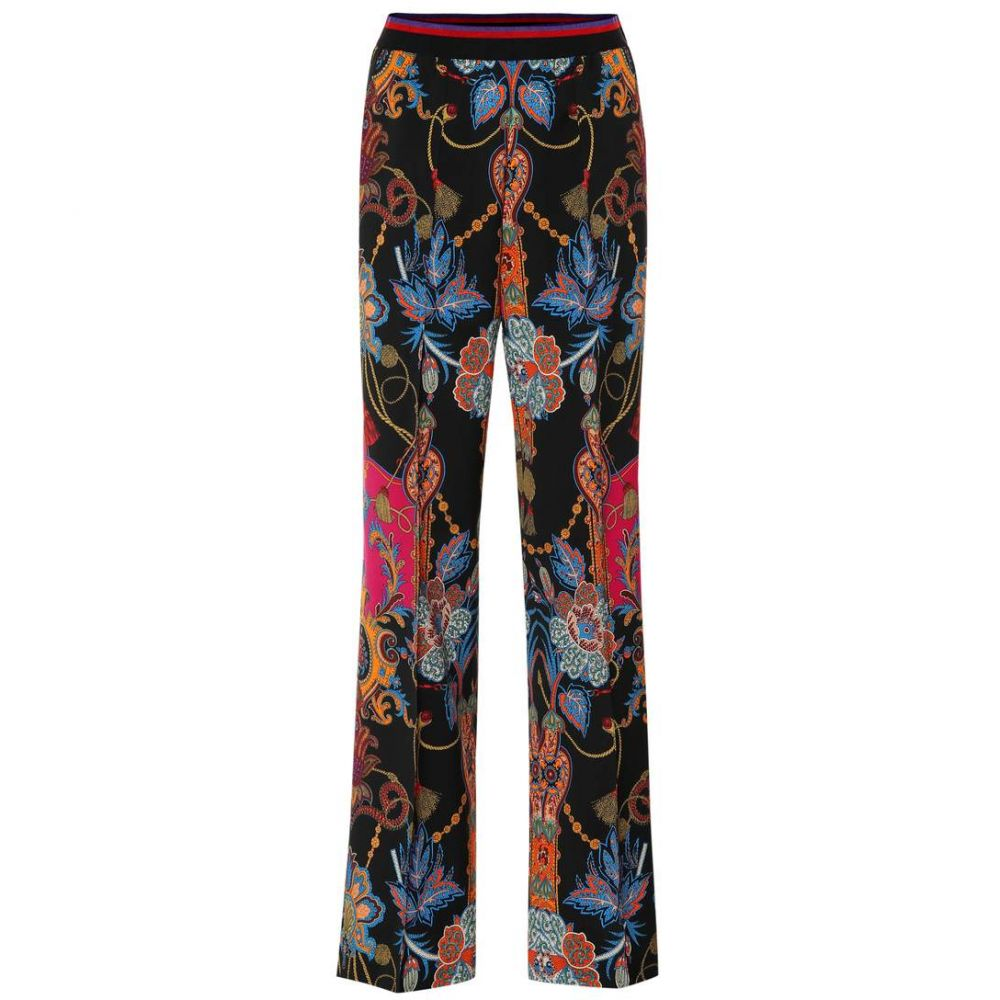 エトロ Etro レディース ボトムス・パンツ 【Paisley wool crepe wide-leg pants】Black/Multicolor