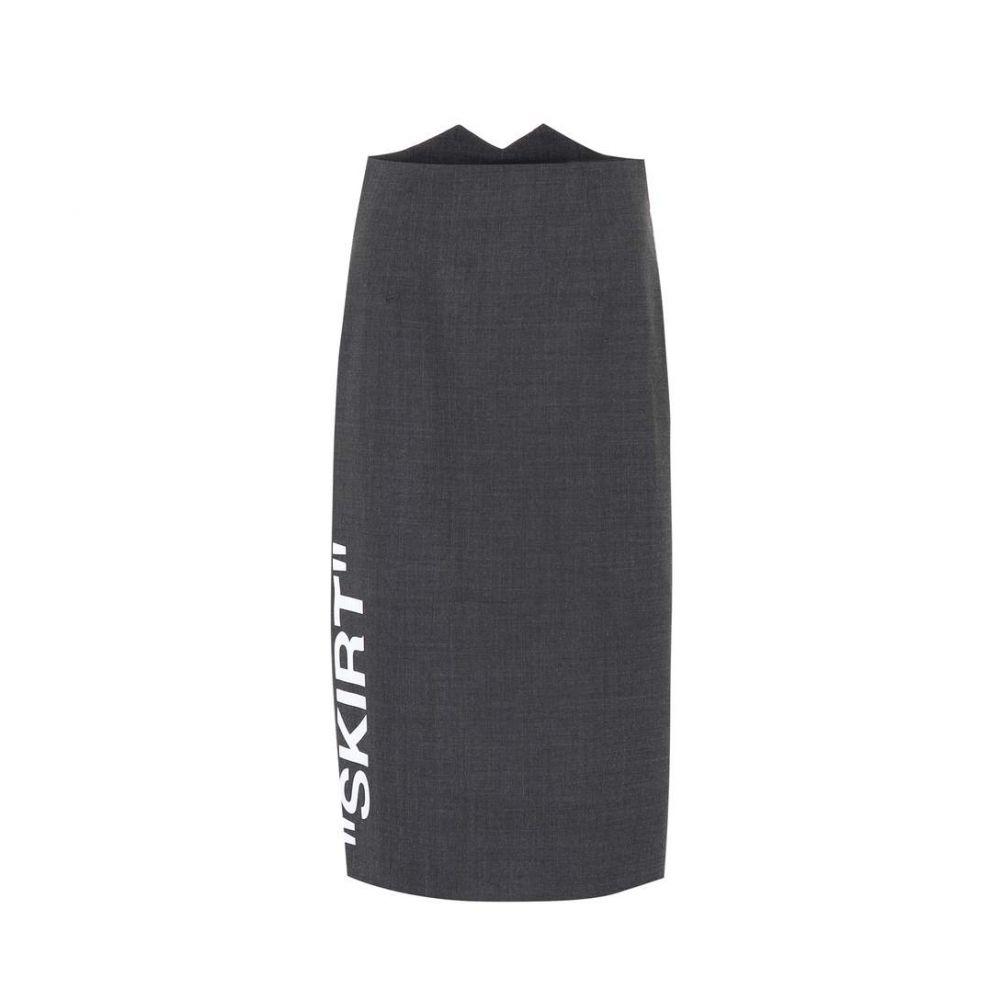 オフホワイト Off-White レディース ひざ丈スカート ペンシルスカート スカート【Stretch wool pencil skirt】