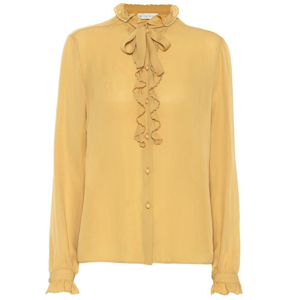 エトロ Etro レディース ブラウス・シャツ トップス【Ruffle-trimmed silk blouse】