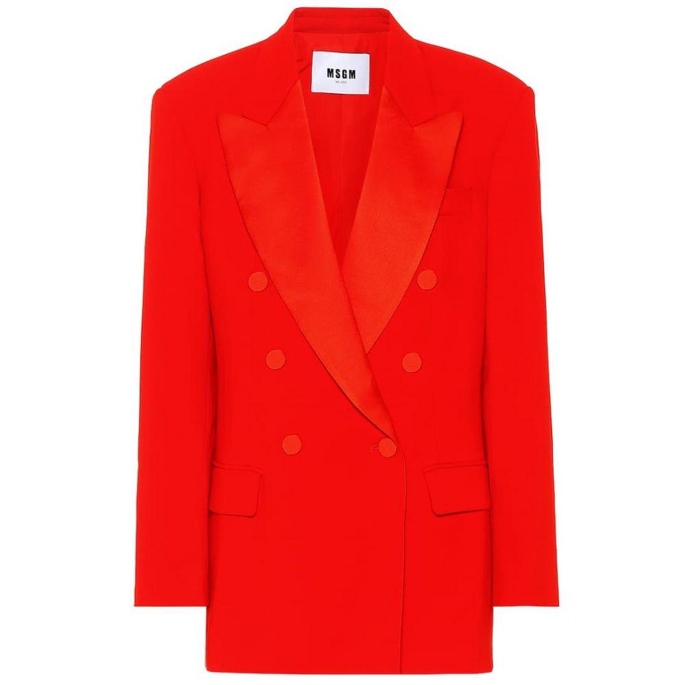 エムエスジーエム MSGM レディース スーツ・ジャケット アウター【Double-breasted crepe blazer】Red
