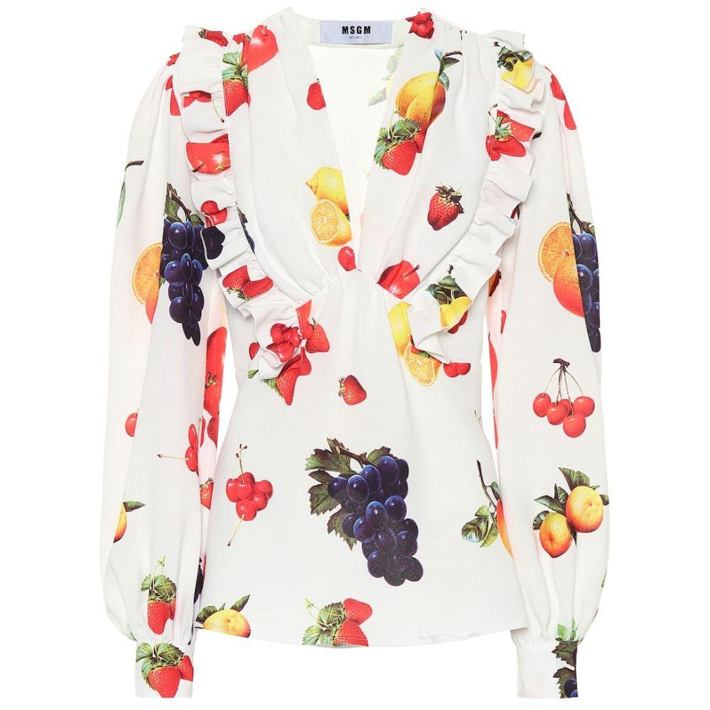 エムエスジーエム MSGM レディース ブラウス・シャツ トップス【Printed crepe blouse】white