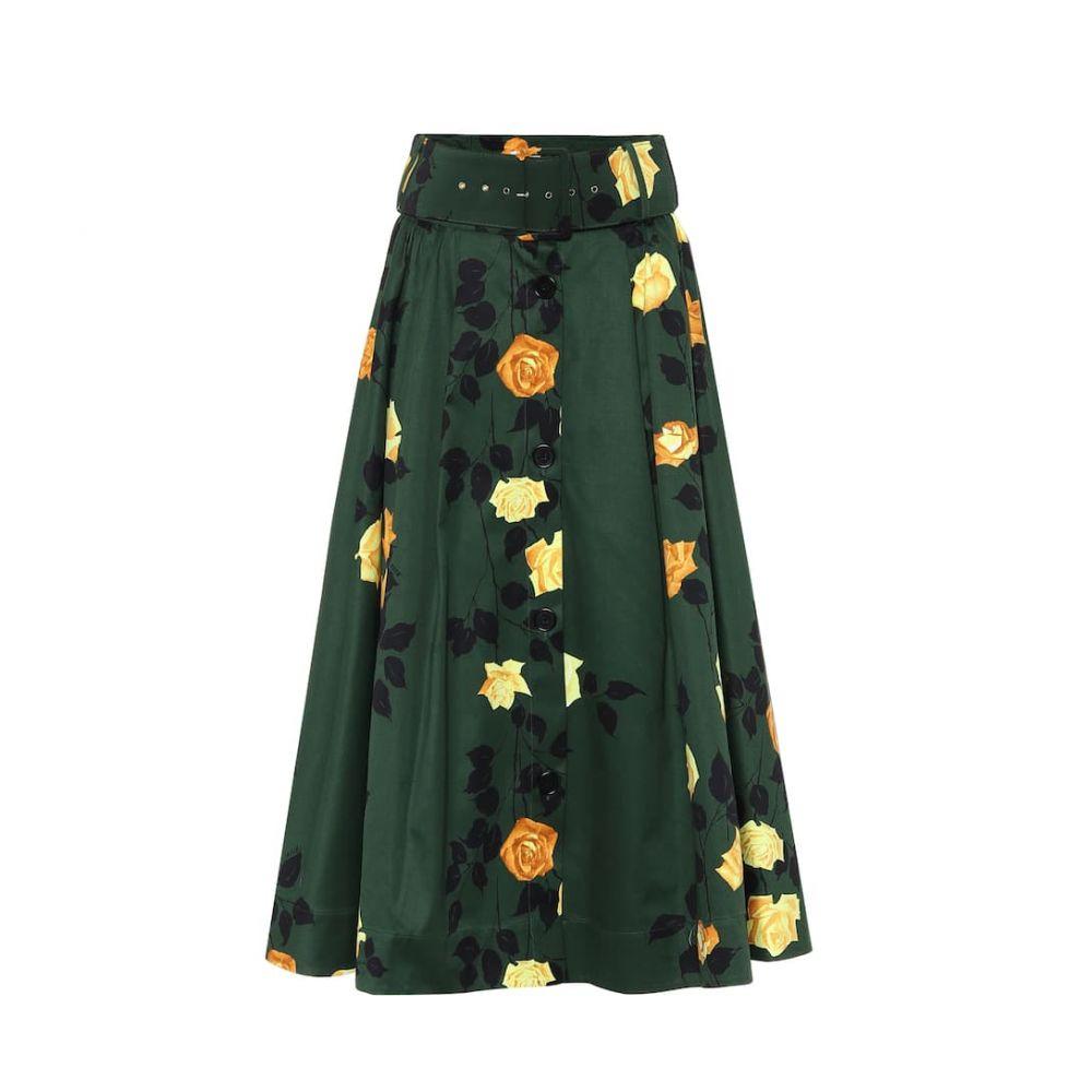 エムエスジーエム MSGM レディース ひざ丈スカート スカート【Floral cotton midi skirt】Military