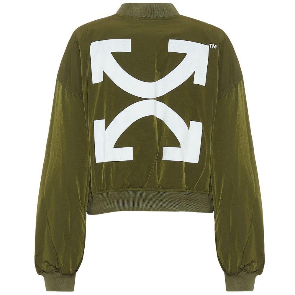 オフホワイト Off-White レディース ブルゾン ミリタリージャケット アウター【Nylon cropped bomber jacket】Military Green