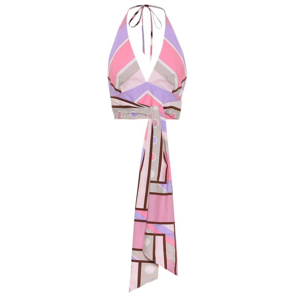 エミリオ プッチ Emilio Pucci レディース ノースリーブ トップス【Printed stretch-cotton halter-neck top】Pink