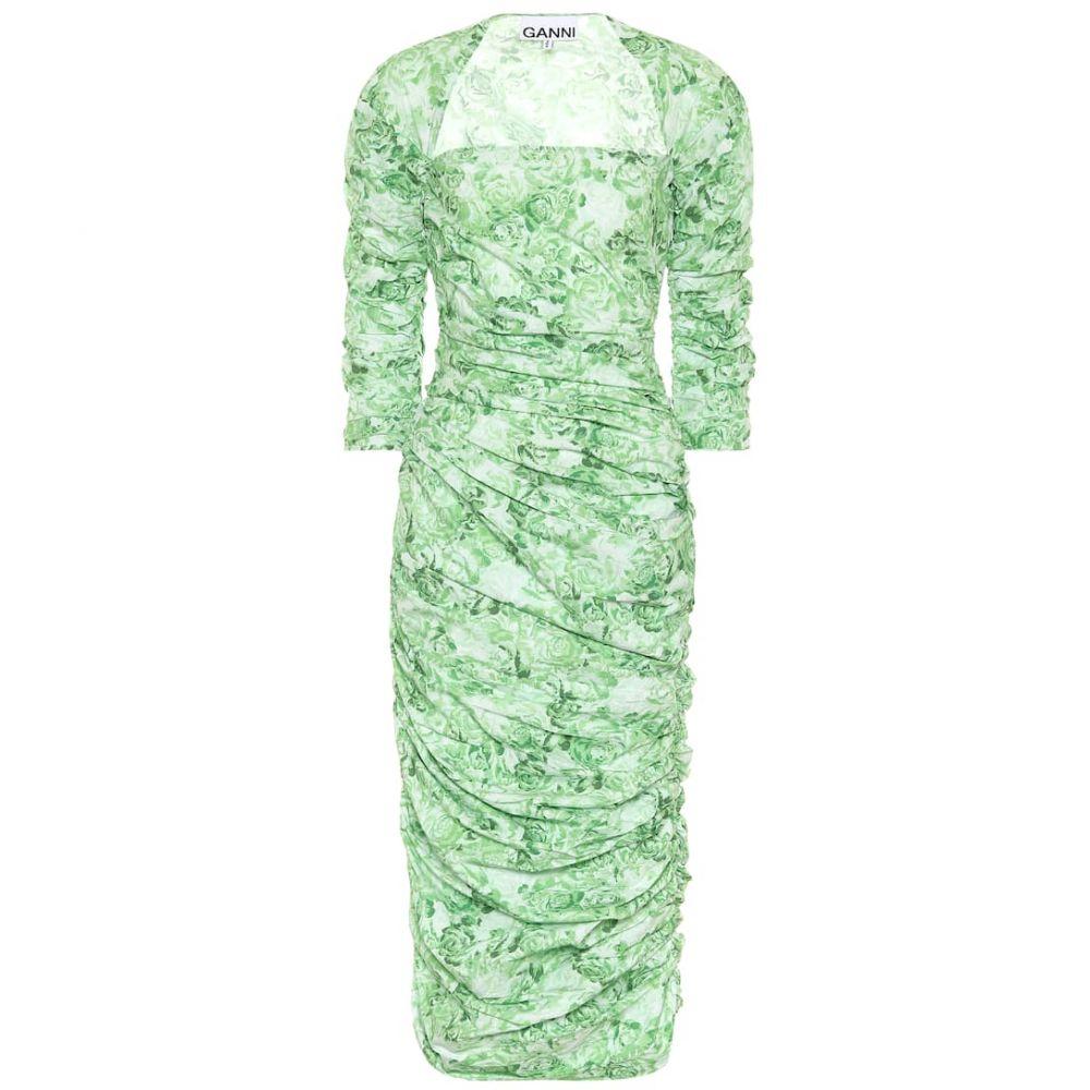 ガニー Ganni レディース ワンピース ミドル丈 ワンピース・ドレス【Floral cotton-poplin midi dress】Island Green