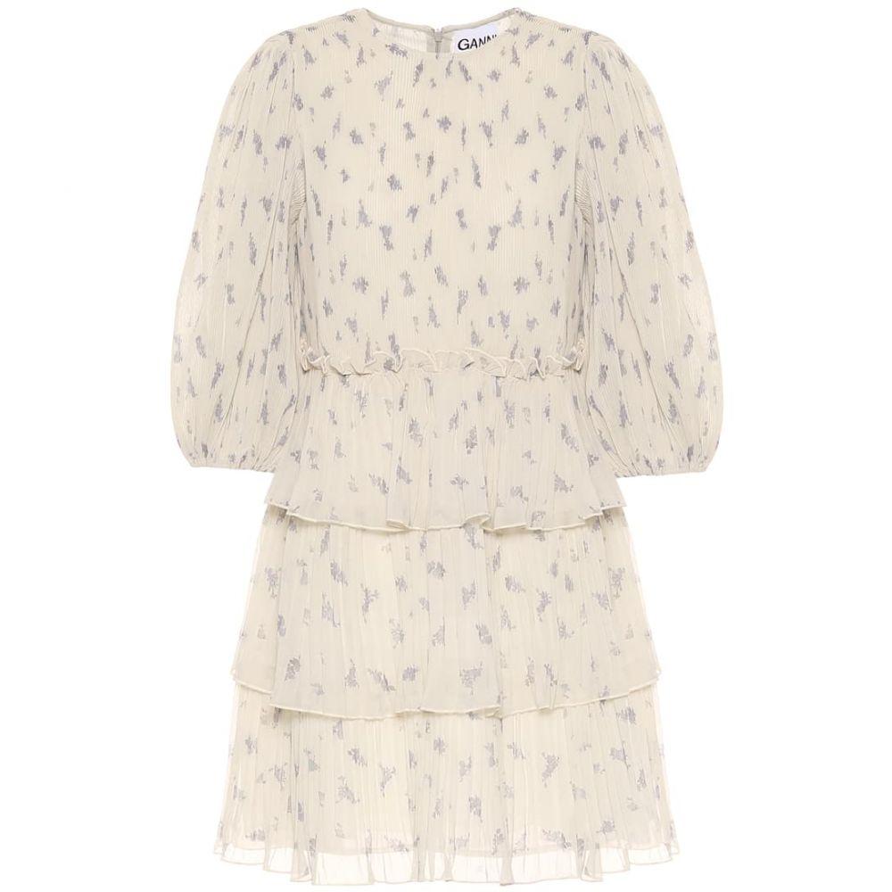 ガニー Ganni レディース ワンピース ワンピース・ドレス【Floral pleated georgette minidress】Egret