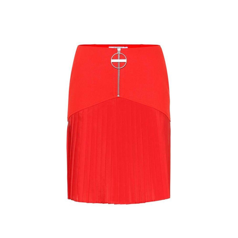 ジバンシー Givenchy レディース ミニスカート スカート【Pleated wool miniskirt】Red
