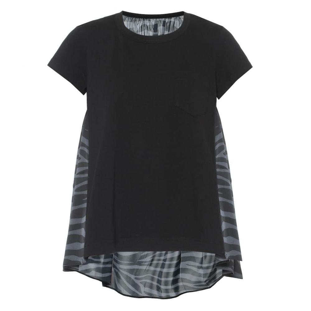 サカイ Sacai レディース トップス 【Zebra-print cotton and satin top】Black