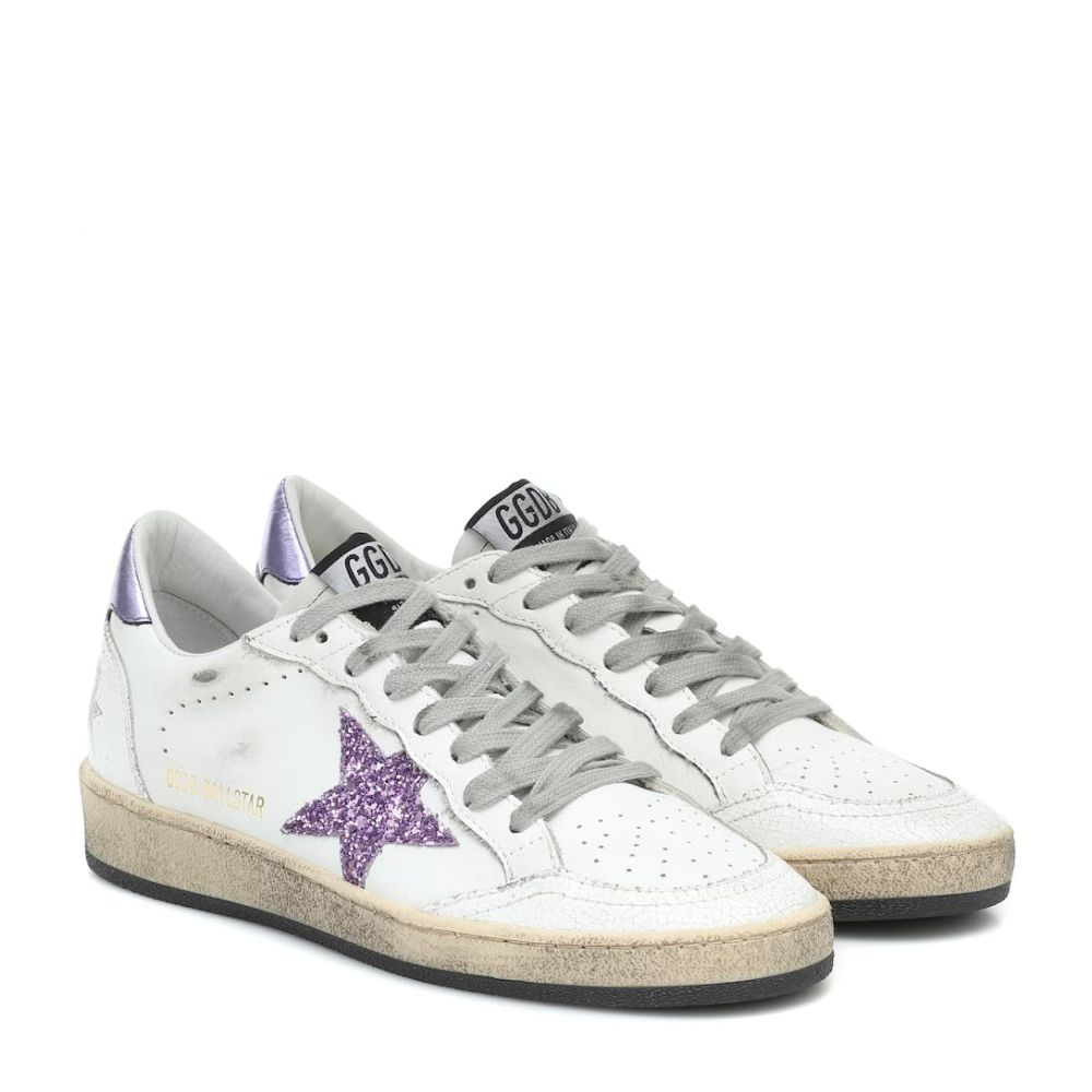 ゴールデン グース Golden Goose レディース スニーカー シューズ・靴【Ball Star leather sneakers】White Leather-Glitter Lavender