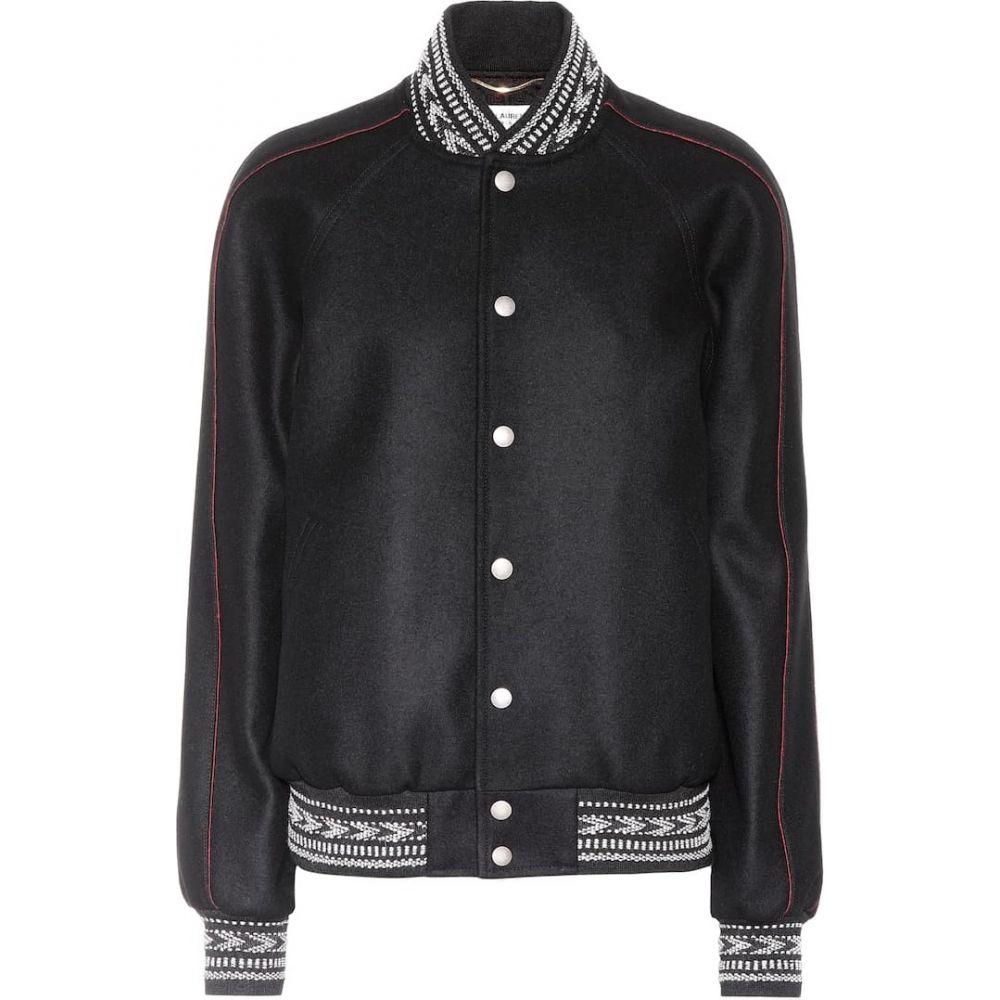 イヴ サンローラン Saint Laurent レディース ブルゾン アウター【Wool varsity jacket】Black