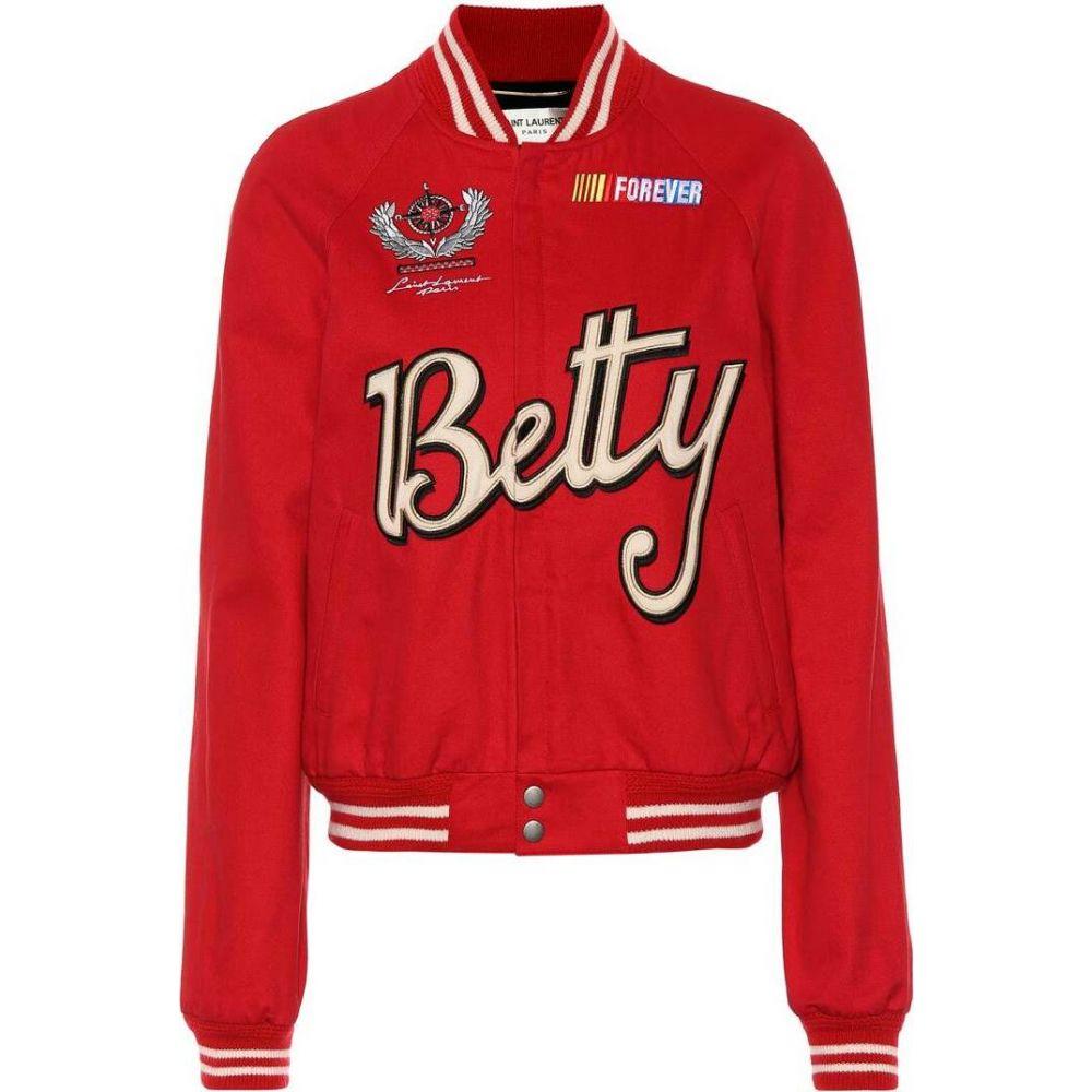 イヴ サンローラン Saint Laurent レディース ブルゾン アウター【Teddy gabardine varsity jacket】Rouge Vermillon