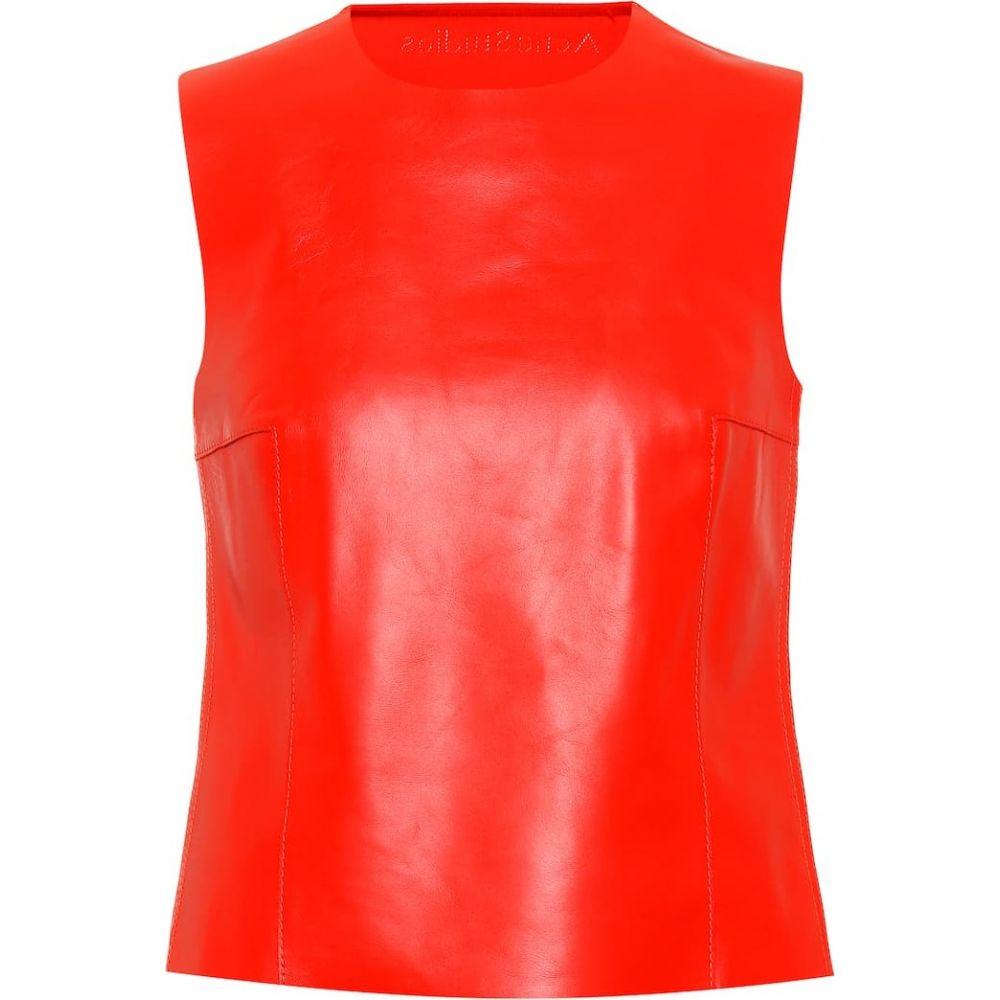 アクネ ストゥディオズ Acne Studios レディース トップス 【Leather and ribbed-knit top】sharp red