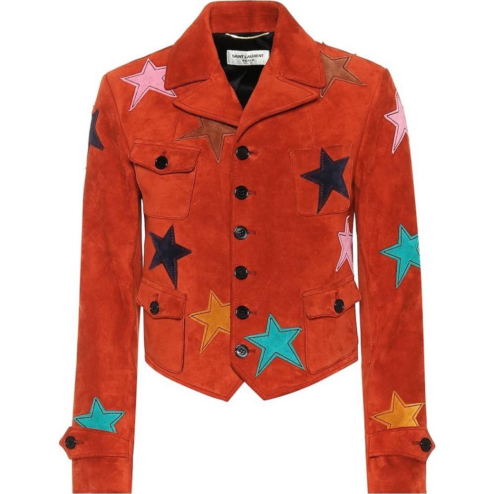イヴ サンローラン Saint Laurent レディース レザージャケット アウター【Suede jacket】Rouge Vintage/Multic