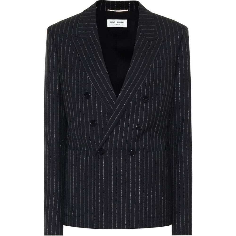 イヴ サンローラン Saint Laurent レディース スーツ・ジャケット アウター【Pinstriped wool blazer】Noir Argent