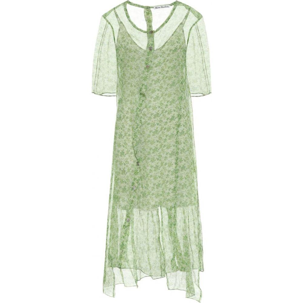 アクネ ストゥディオズ Acne Studios レディース ワンピース ミドル丈 ワンピース・ドレス【Floral silk chiffon midi dress】Fern Green