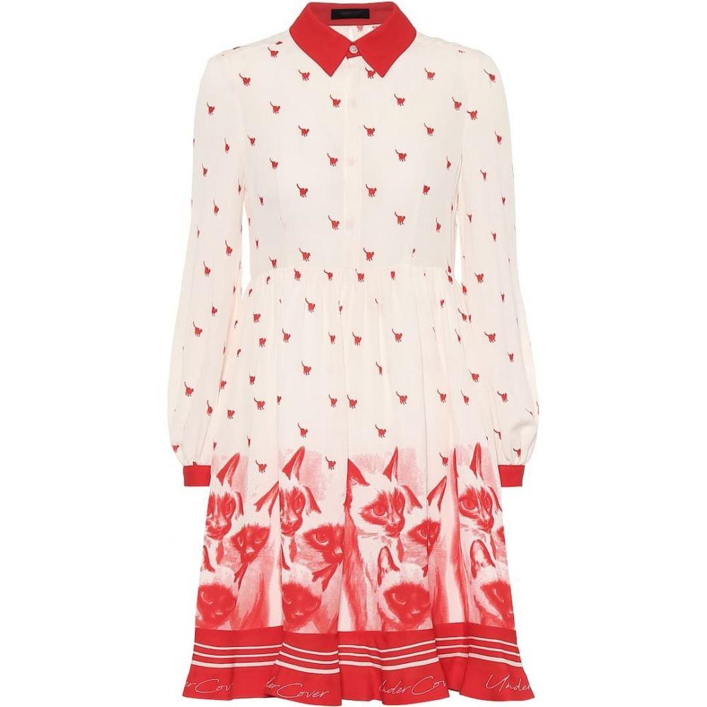 アンダーカバー Undercover レディース ワンピース ワンピース・ドレス【Printed silk-crepe de chine dress】White Base