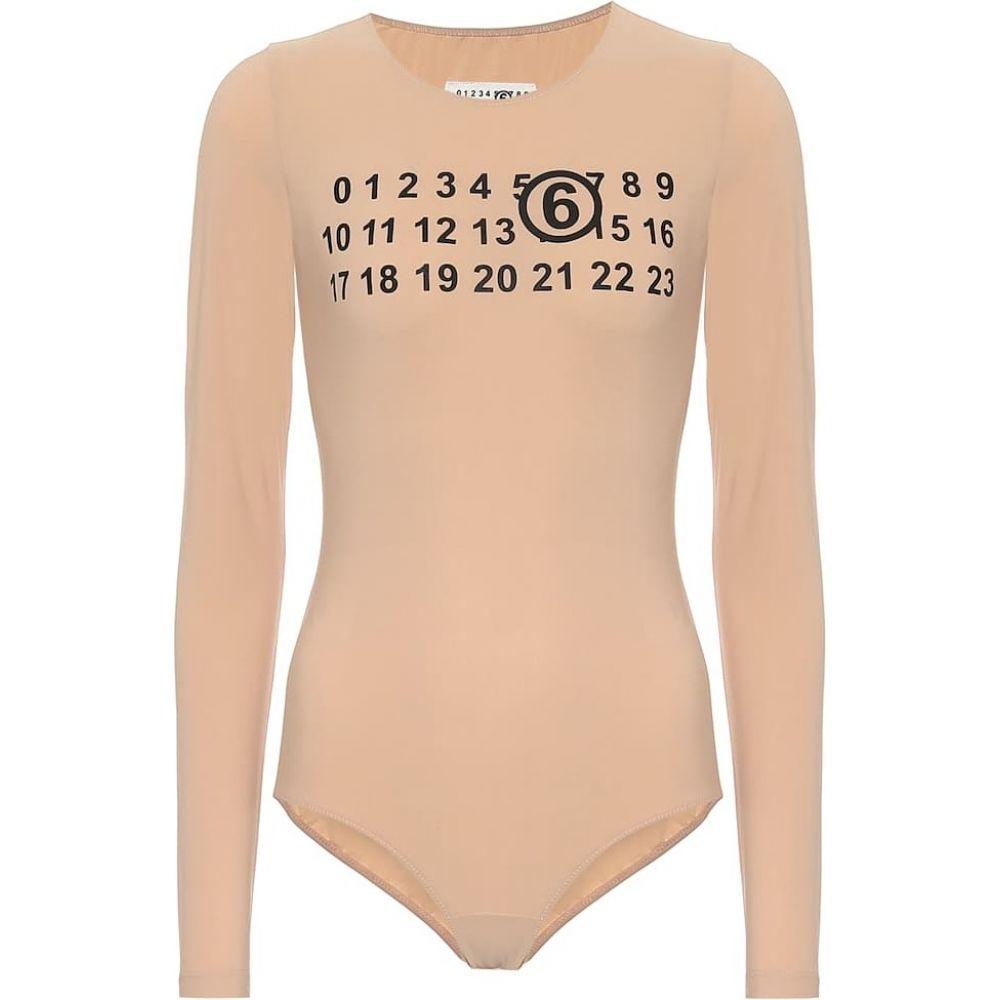 メゾン マルジェラ MM6 Maison Margiela レディース ボディースーツ インナー・下着【Logo technical-jersey bodysuit】Nude